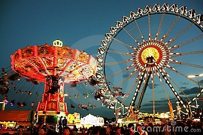 Oktoberfest fairground at night Editorial Image