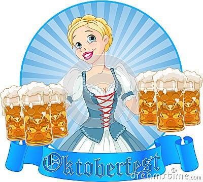 Oktoberfest girl label Editorial Image