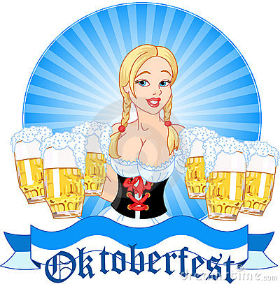 Oktoberfest girl serving beer Editorial Stock Image