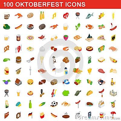 100 Oktoberfest icons set, isometric 3d style Vector Illustration