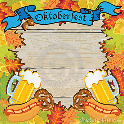 Oktoberfest Party Frame Invitation Poster Editorial Stock Image