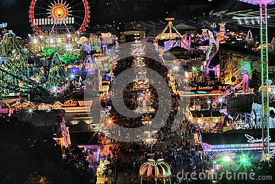Oktoberfest rides at night Editorial Stock Image