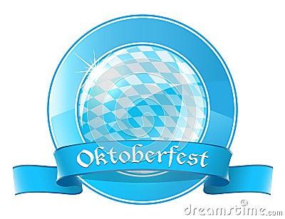 Oktoberfest round banner with ribbon Editorial Photo