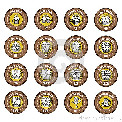 The-Oktoberfest-A-set-of-vector-funny-arithmetic-logos-of-beer-elements-for-a-bar-or-pub-menus-icons-emblems-Vector-illustration Vector Illustration