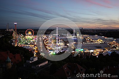 Oktoberfest view at night Editorial Image