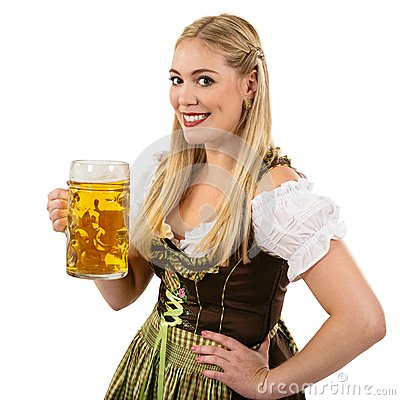 Oktoberfest waitress with beer