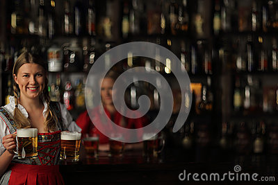 Oktoberfest woman with beer Stock Photo