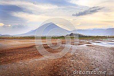 Ol Doinyo Lengai volcano from Lake natron view