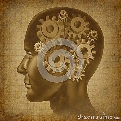 Ol grunge antique d esprit de fonction de cerveau d intelligence