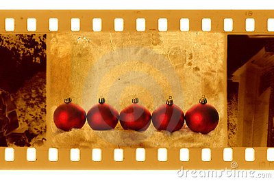 Old 35mm frame photo with christmas balls