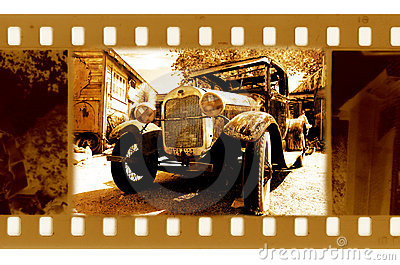 Old 35mm frame photo with usa ford retro car