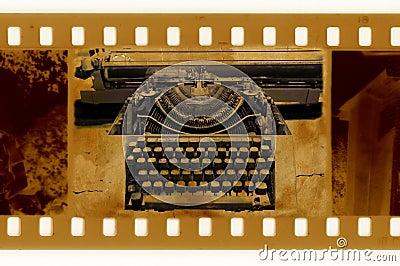 Old 35mm frame photo with vintage typewriter