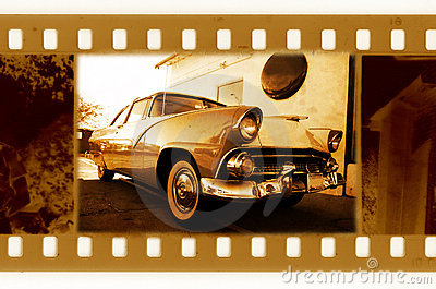 Old 35mm frame with USA retro car