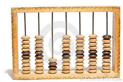 Old abacus on white isolated background