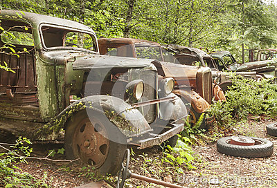 Old abandoned cars at Opal Creek Mining Town.