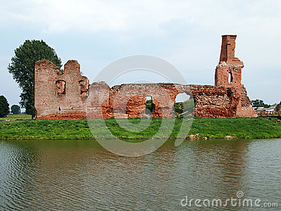 Old abandoned castle in the village Besiekiery in Poland without the owner