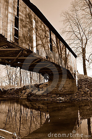 Old abandoned covered bridge