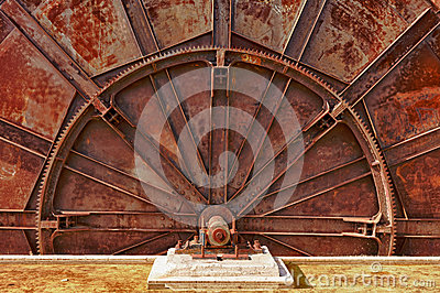 Old industrial machinery wheel