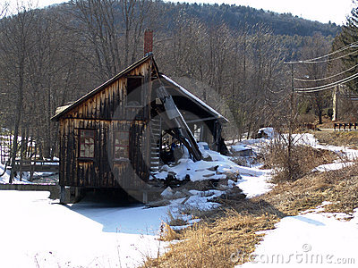 Old abandoned lumber mill on the banks of the leverett river