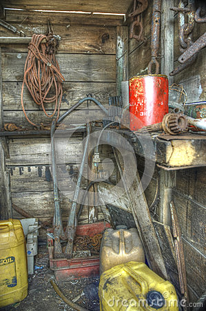 Old abandoned shed interior