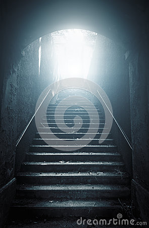 Free Old Abandoned Stairs Going Up To The Light Stock Photo - 44068090