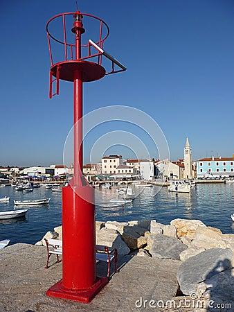 Free Old Adriatic Town Of Fazana, Behind Red Beacon Stock Photo - 22934970