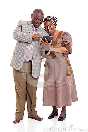 Old african couple tablet