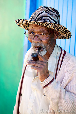 Old african male smoking