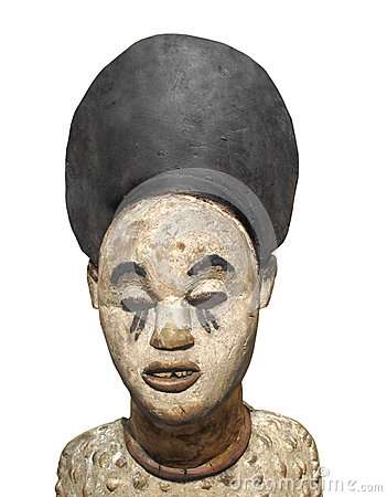 Old African statue bust isolated.