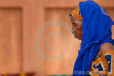 Old african woman blue scarf Editorial Photo