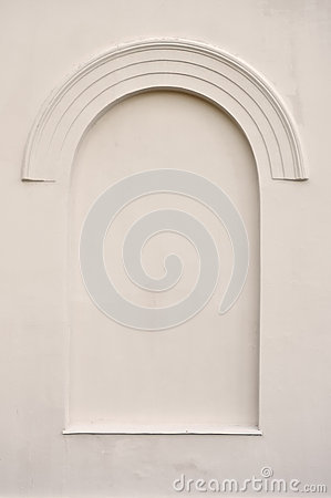 Old aged faux arch false fake window stucco frame