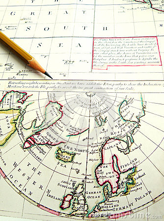 Old aged map of Arctic Circle & North Pole