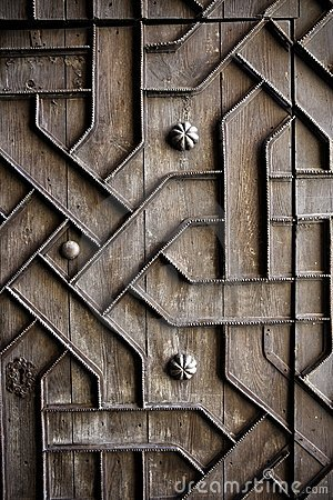 Old aged wooden door iron handcraft deco