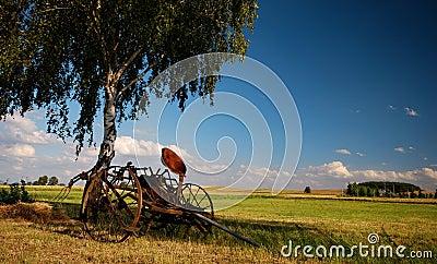 Old agricultural fertilize machine