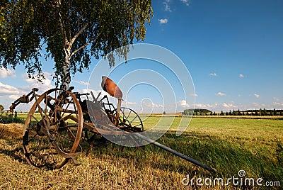 Old agricultural fertilize machine,