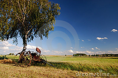 Old agricultural fertilize machine wide angle