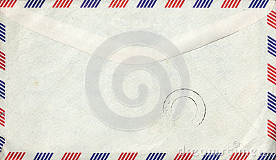 Old air mail envelope with stamp