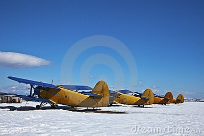 Old aircraft, parked with snow in a sunny day