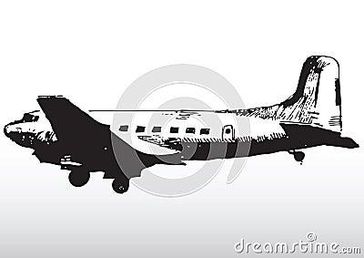 Old airplane sketching