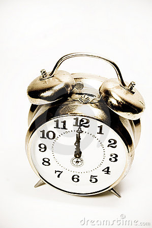 Old alarm clock isolated, vintage style