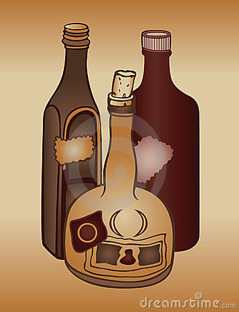 Old alcohol bottles