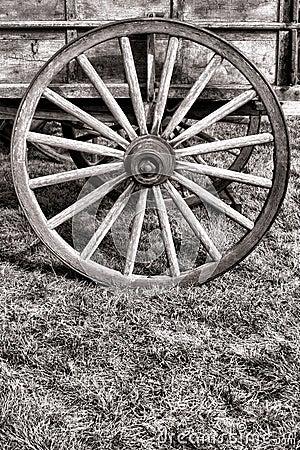 Free Old American Prairie Schooner Wagon Wood Wheel Stock Image - 25839741