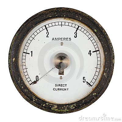Old ammeter with central pointer pivot