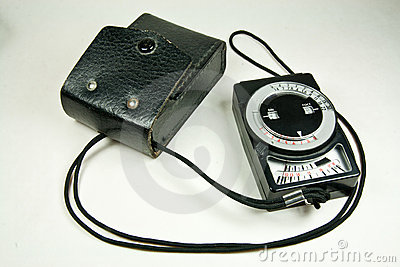 Old analog exposure meter with leather case