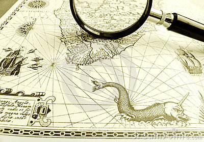 Old Ancient sea chart, magnifier