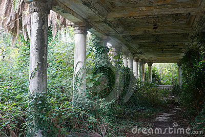 Old antique abandoned terrace