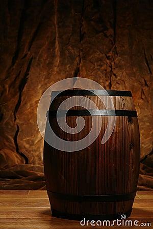 Old Antique Brown Wood Whisky or Wine Barrel Cask