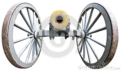 Old Antique Civil War Artillery Cannon Isolated