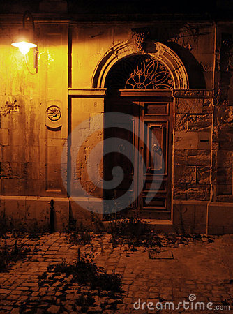 Free Old Antique Door At Night Royalty Free Stock Image - 10343106