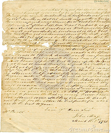Old Antique Handwritten Letter, Frayed Edges